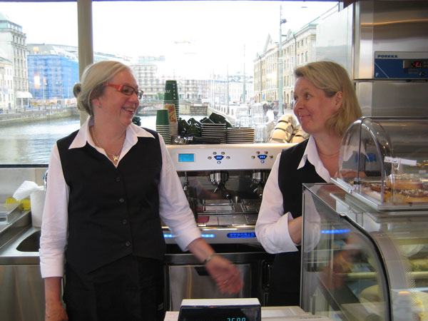Berit and Ann-katrin are telling that the caf� opened 13th of june 2011 and that they are trying to develope the menu